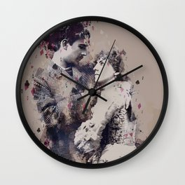 Vintage Lovely Couple Abstract Poker Papers Art Painting. Wall Clock