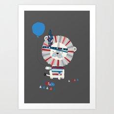 Little Grey Lion Art Print