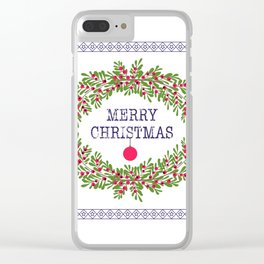 Merry christmas and happy new year white greeting card wreath light white background Clear iPhone Case
