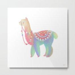 Colorful Alpaca Metal Print