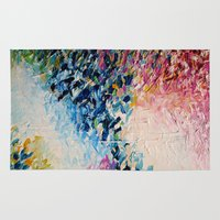 jazzberry Area & Throw Rugs featuring PARADISE DREAMING Colorful Pastel Abstract Art Painting Textural Pink Blue Tropical Brushstrokes by EbiEmporium