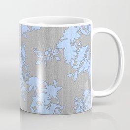 Pale Blue Floral Pattern on Medium Grey Burlap Texture Vector Art Coffee Mug