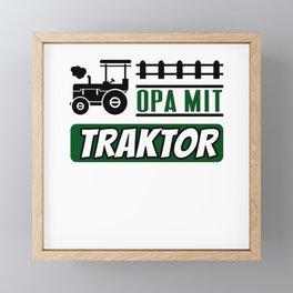 Opa mit Traktor lustiges Landwirt Rentner Fun Framed Mini Art Print