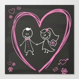 Cartoon bride and groom blackboard design Canvas Print