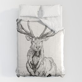 Deer in grass illustration / BW Comforters