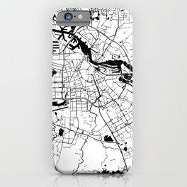 Amsterdam White on Black Street Map iPhone Case