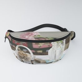 Peony and patchwork still life Fanny Pack