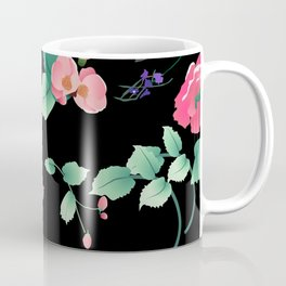 Roses and Violets Pattern Style Coffee Mug