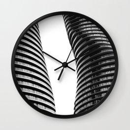 Curve Twins | Architecture | CityLandscape | City Photography | Minimalist | B&W Wall Clock