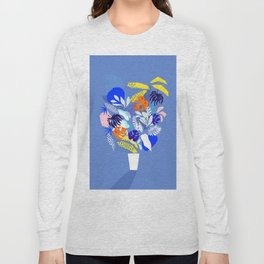 Keep Growing - Tropical plant on Blue Long Sleeve T-shirt
