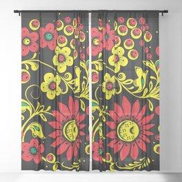Black floral hohloma Sheer Curtain