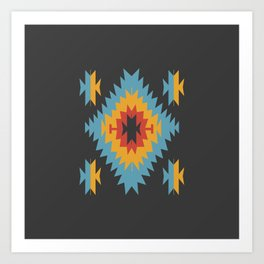Santa Fe Southwestern Native Navajo Indian Tribal Geometric Pattern Kunstdrucke