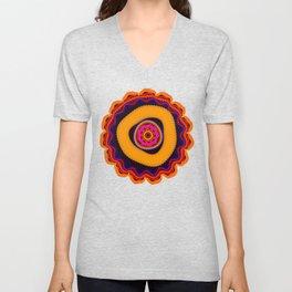 Modern abstract colourful fantasy flower Unisex V-Neck