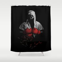 boxing Shower Curtains featuring Death Boxing by tshirtsz