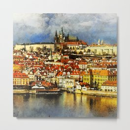 Beautiful view on old town Prague from Bridge Tower. Czech Republic. Metal Print