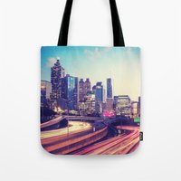 atlanta Tote Bags featuring Atlanta Downtown by GF Fine Art Photography