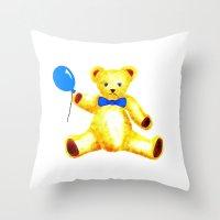 teddy bear Throw Pillows featuring Teddy Bear by Artisimo