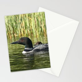 Mother and baby loon Stationery Cards