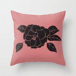 Black Flower Illustration Throw Pillow