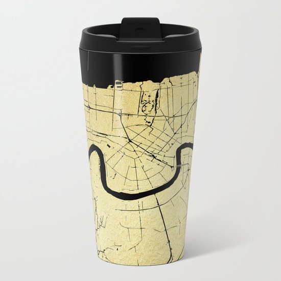 New Orleans Black and Gold Map Metal Travel Mug