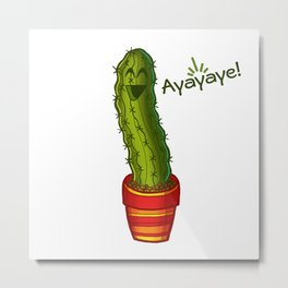 Ayayaye Cactus Pickle Metal Print