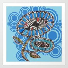 Madhubani - Blue Fish Flower2 Art Print