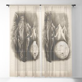 The Dark Side - Surreal Black Horse and Moon Sheer Curtain