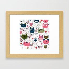 Modern Cat Pattern Framed Art Print