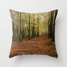 Autumn Woodland Walk Throw Pillow