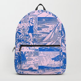 Midcentury Vacation Postcards in Pink + Blue Backpack
