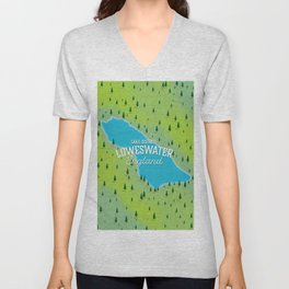 Loweswater Lake District England travel map Unisex V-Neck