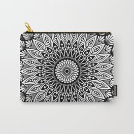 Sacred Lotus Black and White Mandala - LaurensColour Carry-All Pouch