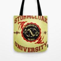skyrim Tote Bags featuring Stormcloak University(Skyrim) by Chubbybuddhist