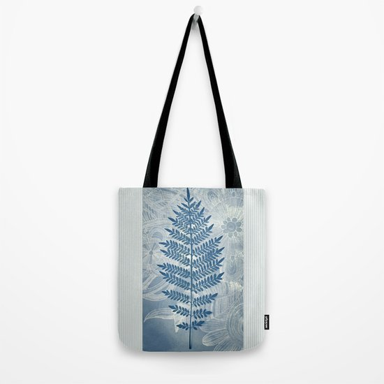 Jacaranda Leaf in Blue, Cream, Grey Tote Bag