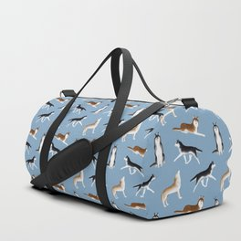 Husky Pattern (Blue Gray Background) Duffle Bag