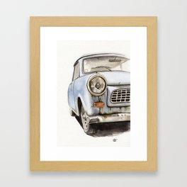 Old Blue Car Illustration Watercolor Framed Art Print
