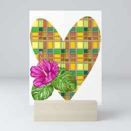 Caribbean Colorful Fabric Madras Tartan Mini Art Print