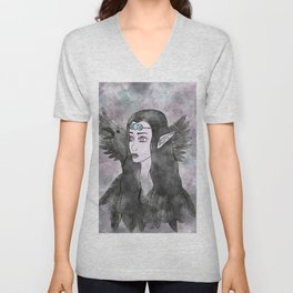 The Morrigan / Raven Watercolor Unisex V-Neck