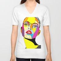 model V-neck T-shirts featuring Model by Floridana Oana