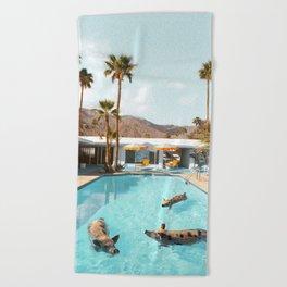 Pig Poolside Party Beach Towel