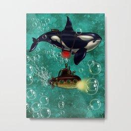 Whale submergence Metal Print