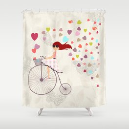 Red haired girl French polka dots dress riding retro bike bicycle backet full of hearts everywhere Shower Curtain
