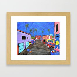 Los Angeles Alley by Mike Kraus- LA art street graffiti socal california houses homes colorful decor Framed Art Print
