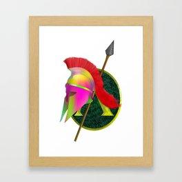 Spartan Helmet Colorful Framed Art Print
