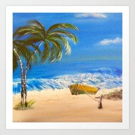 Rocky Weather on the Beach  Oil on Canvas Art Print