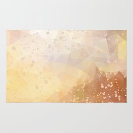 Abstract polygonal golden background with splashes Rug