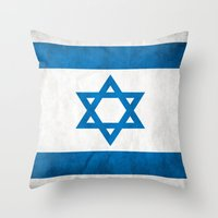 israel Throw Pillows featuring Israel Flag  by Jason Michael