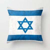 israel Throw Pillows featuring Israel Flag  by Jason Michael