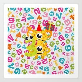 Birthday Monsters 3rd Birthday Art Print