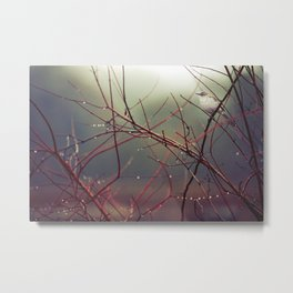 Bird and Red Branches Metal Print